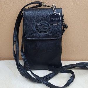 Vintage🌟Italian Leather Black Zipper Crossbody